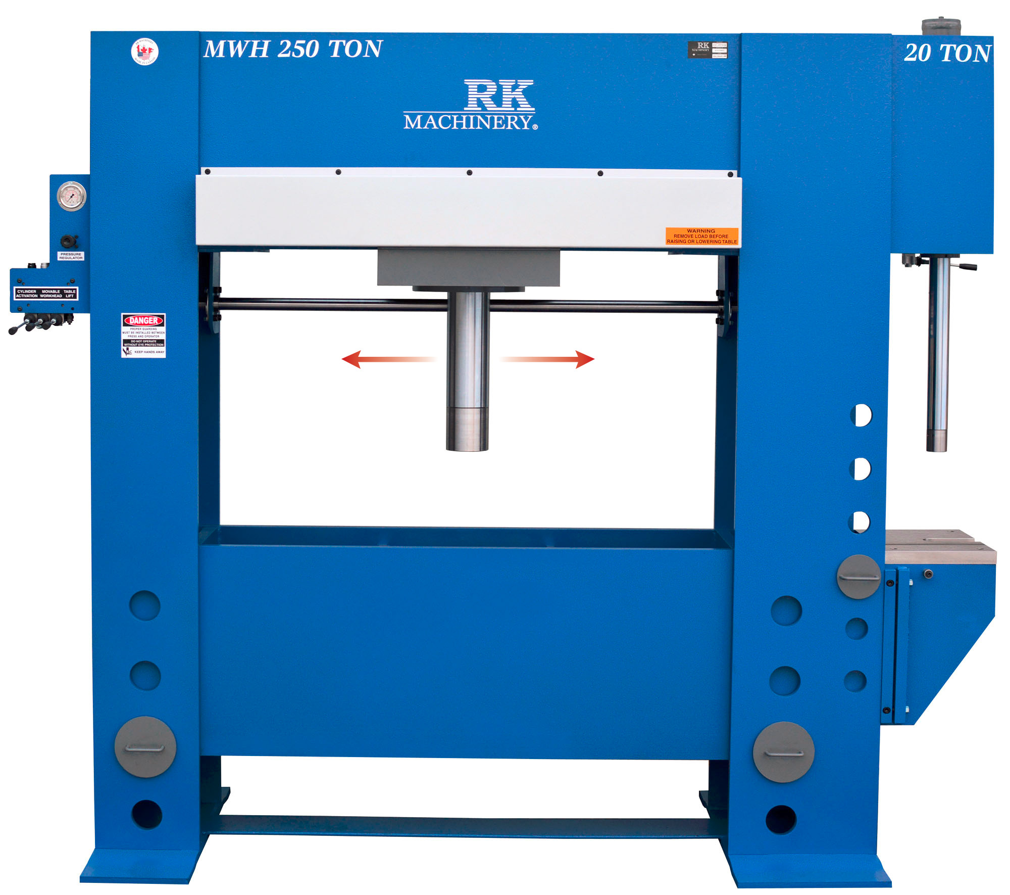20 Ton Broach Press with 250 ton H Frame Hydraulic with movable